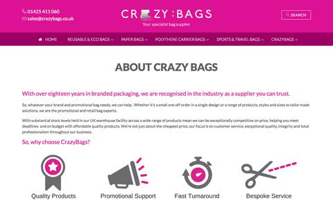 Screenshot of About Page crazybags.co.uk - Promotional Bags, Brand Packaging & Branded Bag Supplier UK - captured July 23, 2018