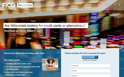 Screenshot of Landing Page fico.com - Are Millennials looking for credit cards or alternatives? : FICO - captured Sept. 1, 2016