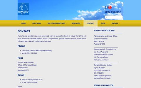Screenshot of Contact Page tomatis.co.nz - Contact Tomatis New Zealand - captured Oct. 9, 2014