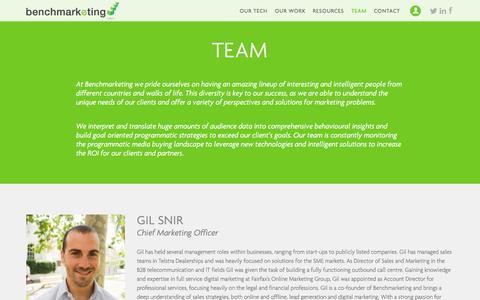 Screenshot of Team Page benchmarketing.com.au - Team | Benchmarketing | Benchmarketing - Turning marketers into media buyers - captured Sept. 30, 2014