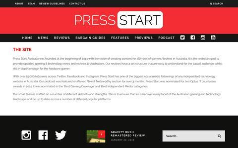 Screenshot of About Page press-start.com.au - About | Press Start Australia - captured Jan. 31, 2016