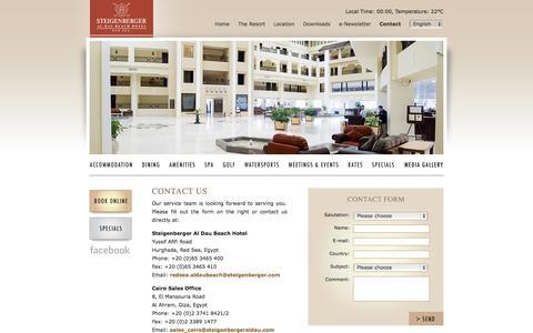 Screenshot of Contact Page steigenbergeraldaubeach.com - Steigenberger Al Dau Beach Hotel > Contact - captured Oct. 31, 2014