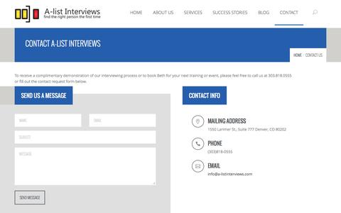 Screenshot of Contact Page a-listinterviews.com - Contact Us - A-list Interviews - captured July 19, 2016