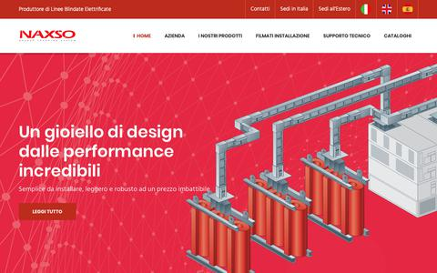 Screenshot of Home Page naxso.com - Busbar Trunking System - NAXSO S.r.l. - Torino (Italy) - captured Nov. 15, 2018
