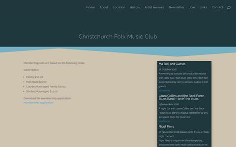 Screenshot of Signup Page folkmusic.org.nz - Join | Christchurch Folk Music Club - captured Oct. 22, 2018