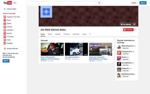 Screenshot of YouTube Page youtube.com - Jim Reid Vehicle Sales  - YouTube - captured Oct. 25, 2014
