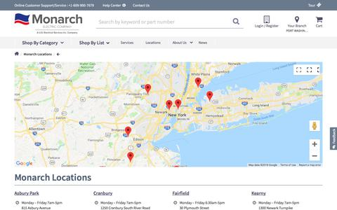 Screenshot of Locations Page monarchelectric.com - Locations in NJ & NY  | Monarch Electric - captured Sept. 20, 2018