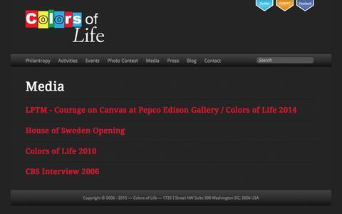Screenshot of Press Page colorsoflife.org - Media - Colors of Life - captured July 15, 2016