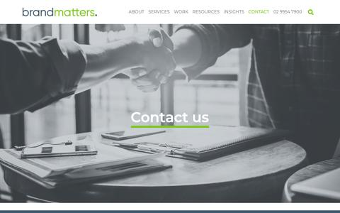 Screenshot of Contact Page brandmatters.com.au - Contact Us   BrandMatters - captured March 21, 2019