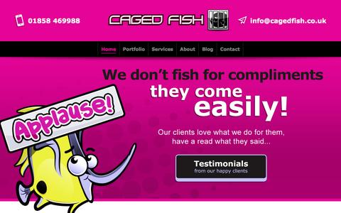 Screenshot of Home Page cagedfish.co.uk - Web design Leicester | Web design Market Harborough Leicestershire - captured May 13, 2017
