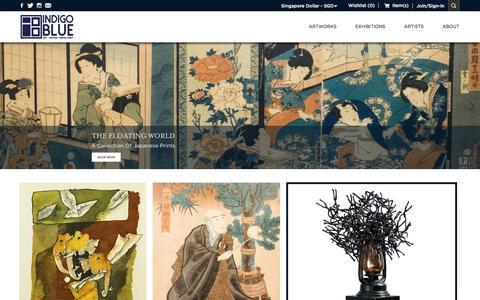 Screenshot of Home Page indigoblueart.com - Contemporary Indian and global artworks - captured Nov. 26, 2016