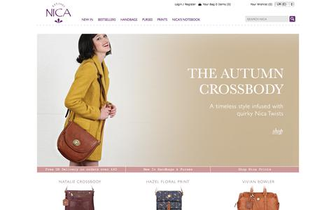 Screenshot of Home Page nica.co.uk - NICA | Official Online Store | Handbags and Accessories - captured Sept. 25, 2014