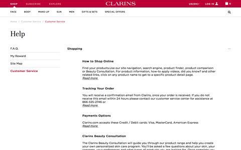 Screenshot of Support Page clarinsusa.com - Customer Service - captured Jan. 28, 2016