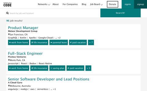 Screenshot of Jobs Page womenwhocode.com - Jobs | Women Who Code - captured June 17, 2017