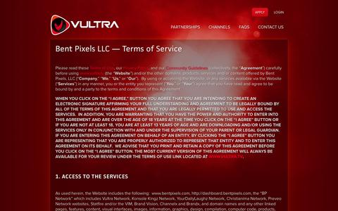 Screenshot of Terms Page vultra.tv - Terms of Service | Vultra.tv - captured Oct. 31, 2014