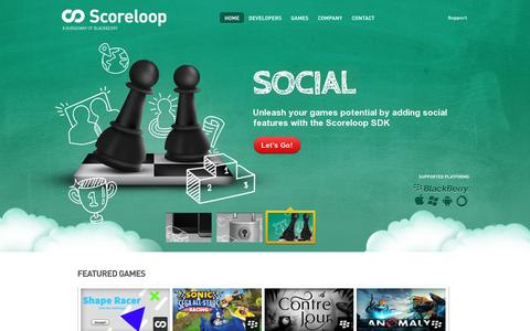 Screenshot of Home Page scoreloop.com - Scoreloop - Cross platform mobile gaming SDK for Virtual Currency, Social Games and Distribution - captured July 11, 2014