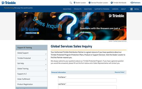 Screenshot of Support Page trimble.com - Contact Global Services - captured Feb. 4, 2018