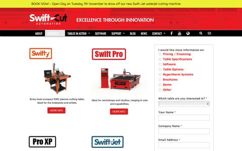 Screenshot of Products Page swift-cut.co.uk - Table Range - Swift Cut Automation - captured Nov. 3, 2017