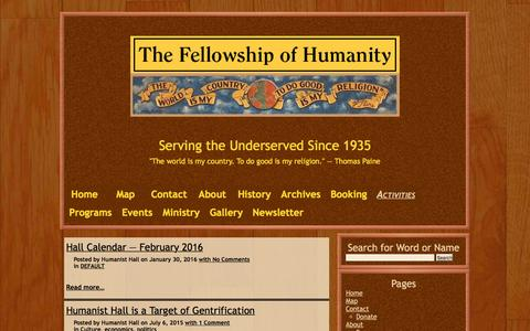 Screenshot of Press Page humanisthall.net - Activities – Fellowship of Humanity - captured June 10, 2016