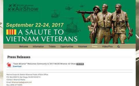 Screenshot of Press Page miramarairshow.com - Press Releases – MCAS Miramar Air Show - captured Nov. 5, 2017