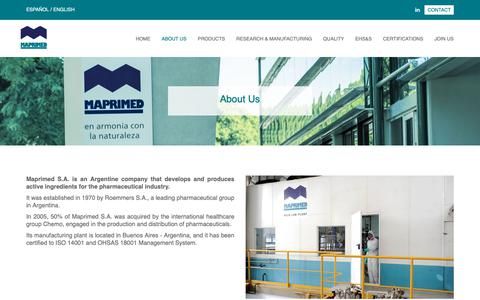 Screenshot of About Page maprimed.com - Maprimed S.A. - Pharmaceutical industry - Develops and produces active ingredients. By Roemmers S.A - ISO 14001:2004. - captured Oct. 16, 2018