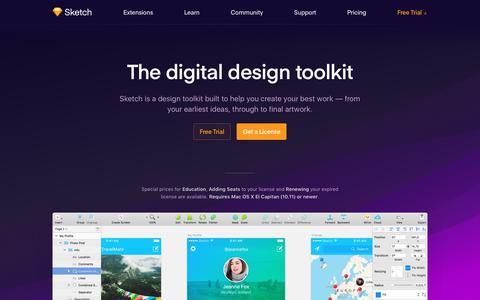 Screenshot of Home Page sketchapp.com - Sketch - The digital design toolkit - captured Oct. 10, 2017