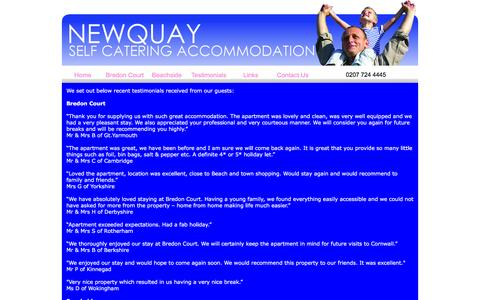 Screenshot of Testimonials Page newquay-selfcatering.co.uk - Newquay Self Catering Accommodation - captured Jan. 21, 2017