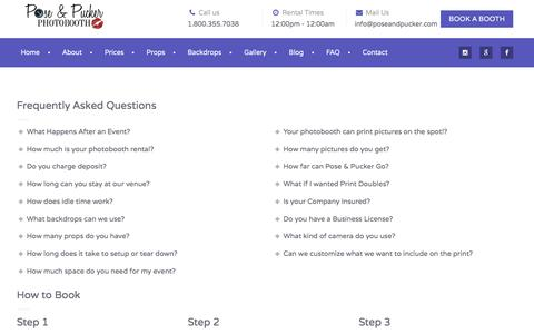 Screenshot of FAQ Page poseandpucker.com - Frequently Asked Questions | Pose & Pucker - captured Nov. 9, 2016