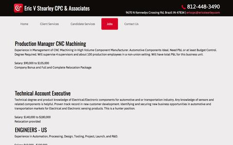 Screenshot of Jobs Page ericcpc.com - Recruiting Services - Eric V Stearley CPC & Associates - Brazil, Indiana - captured Aug. 15, 2017