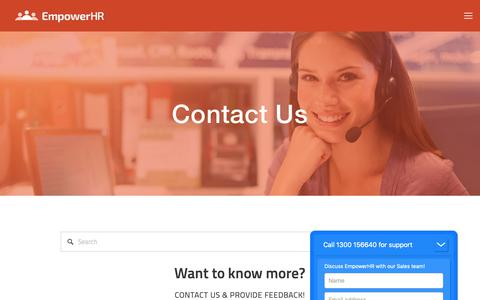 Screenshot of Contact Page empower-hr.com - Contact — EmpowerHR by Fusion5 - captured Sept. 28, 2018