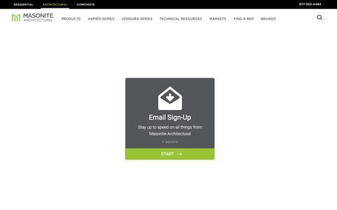 Screenshot of Signup Page masonite.com - Email Sign Up | Masonite Architectural - captured Feb. 10, 2018