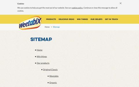 Screenshot of Site Map Page weetabix.co.uk - Weetabix | Sitemap - captured Aug. 19, 2016