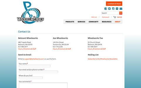 Screenshot of Contact Page Locations Page wheelworks.com - Contact Us - Wheelworks Bicycle Stores and Cycling Centers - captured Oct. 23, 2014