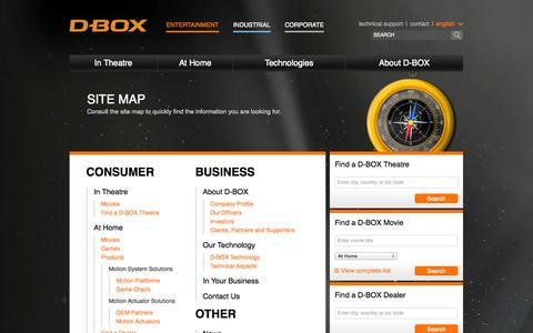 Screenshot of Site Map Page d-box.com - D-BOX - captured Sept. 22, 2014