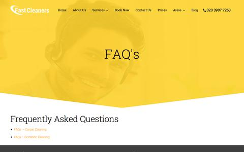 Screenshot of FAQ Page fastcleaners.co.uk - FAQs | Cleaning Services London - captured Oct. 13, 2017