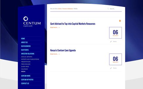 Screenshot of Press Page centum.co.ke - Media - captured Sept. 24, 2014