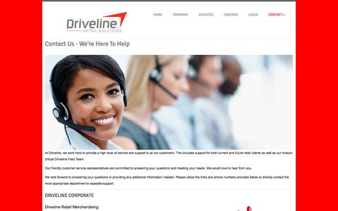 Screenshot of Contact Page drivelineretail.com - DRIVELINE RETAIL - DRIVING YOUR BUSINESS - captured Sept. 22, 2018