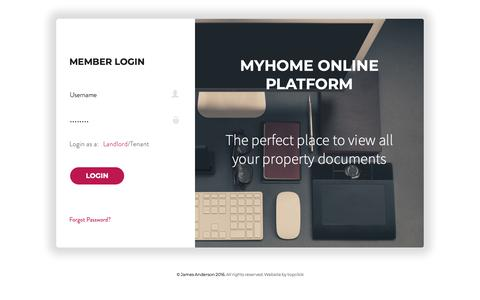 Screenshot of Login Page jamesanderson.co.uk - MyHome Login - captured Oct. 13, 2018