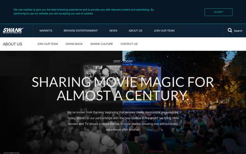 Screenshot of About Page swank.com - Who is Swank Motion Pictures? - captured Oct. 17, 2018