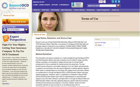 Screenshot of Terms Page beyondocd.org - Terms of Use   Legal Notice   Beyond OCD Beyond  OCD   Resources to get there - captured Sept. 30, 2014