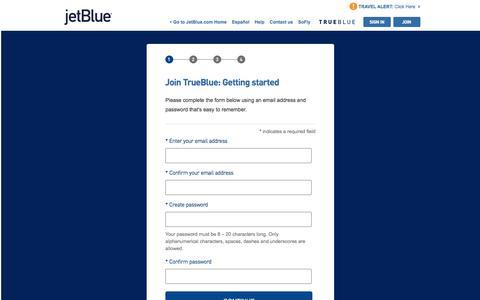 Screenshot of Signup Page jetblue.com - Join TrueBlue | JetBlue - captured June 3, 2018