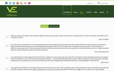 Screenshot of Testimonials Page vitelectra.com - Testimonials | VitElectra, the finest superfood cleanse - captured Oct. 7, 2014