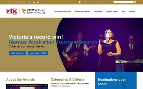 Screenshot of Home Page victoriantourismawards.com.au - The Victorian Tourism Awards - captured March 3, 2016