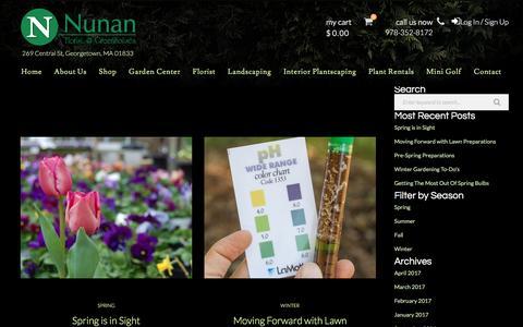 Screenshot of Blog nunans.com - Blog - Nunan Florist & Greenhouses - captured April 26, 2017