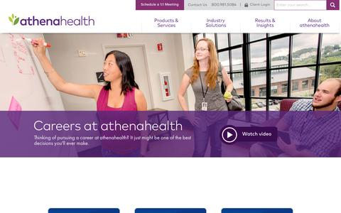 Screenshot of Jobs Page athenahealth.com - athenahealth Careers | Careers | athenahealth - captured April 10, 2017