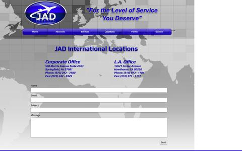 Screenshot of Locations Page jadinternational.com - JAD International Locations - captured Nov. 17, 2016