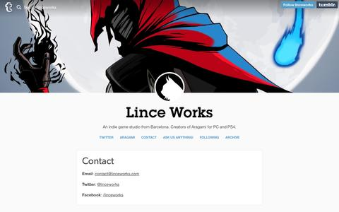 Screenshot of Contact Page linceworks.com - Lince Works — Contact - captured July 15, 2016