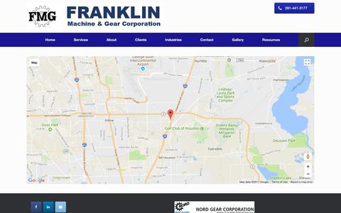 Screenshot of Maps & Directions Page franklingear.com - Map – Franklin Machine & Gear Corporation - captured Oct. 14, 2017