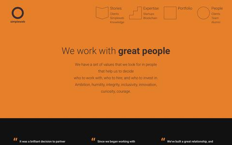 Screenshot of Team Page simpleweb.co.uk - We work with great people - captured Sept. 21, 2018