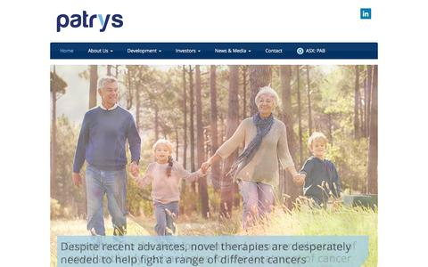 Screenshot of Home Page patrys.com - Patrys   Cancer Treatment/Research   Natural Antibodies - captured Oct. 25, 2016